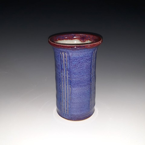vase, blue, carved, porcelain, stoneware, ceramic, flower, janet, buskirk