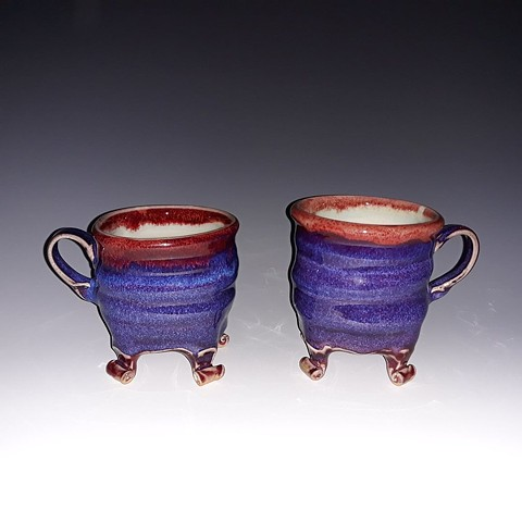 Janet Buskirk Mug Ceramic Stoneware Porcelain Hand Made purple blue