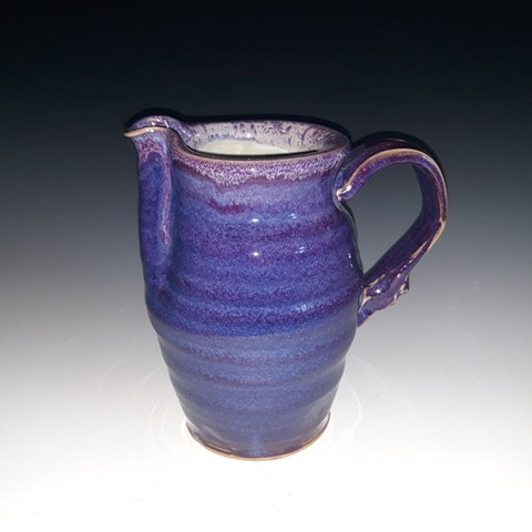 pitcher, purple, janet, buskirk, handmade, syrup, cream, ceramic, porcelain, stoneware, blue