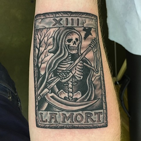death tarot card, tarot card tattoo