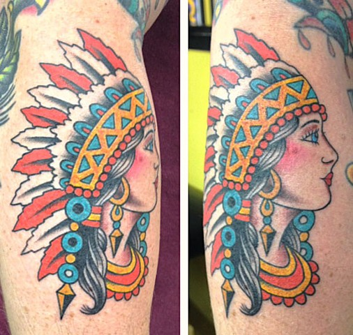 Sailor Jerry Indian girl pin-up tattoo