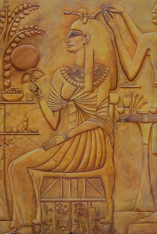 Ancient Egyptian hair salon, as envisioned by the artist