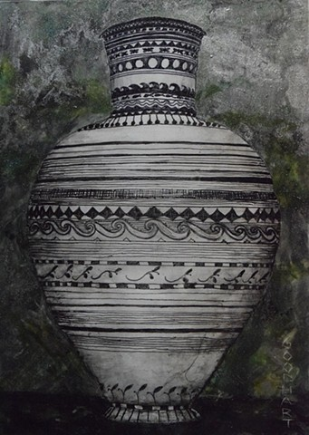 Etched White Amphora