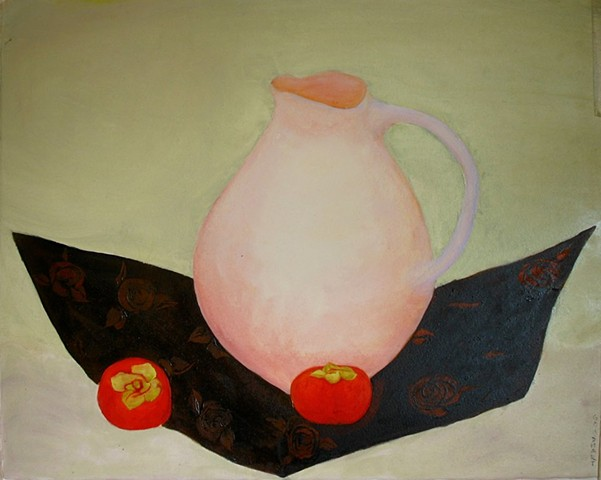 Pink Pitcher And Persimmons