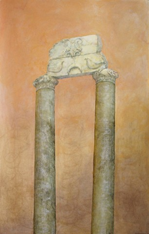 Carved marble columns, metope remnant doves crescent.