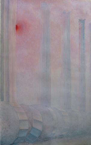 Marble columns, standing and fallen, in misty red sunrise, dawn