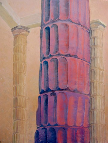 Tilting fluted column ancient architecture, rosy beige and pink.