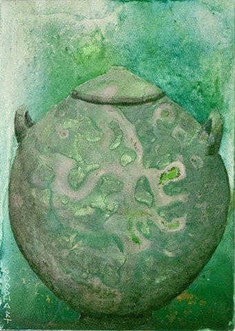 Green Lidded Vessel