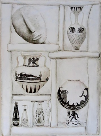 Two Figures And Several Vessels (Death And Greed)