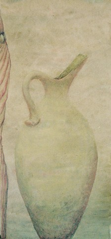 Soft green pitcher near bath bather