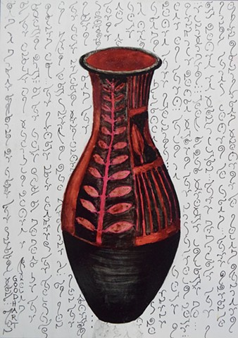 Red And Black Vase