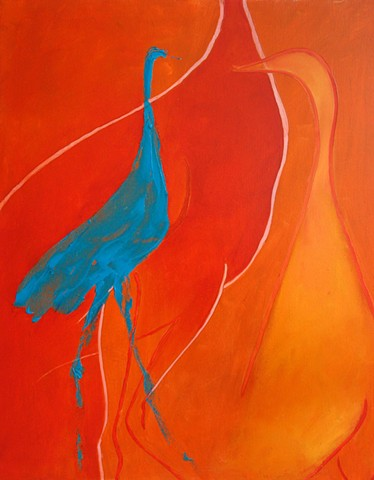 blue orange birds line flat painting
