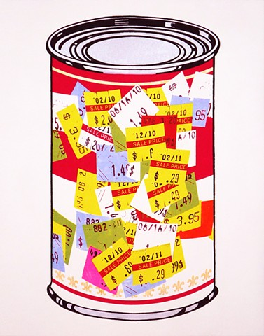 Can with Price Stickers