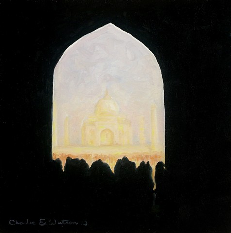 High contrast, small painting of the Taj Mahal from main entrance.