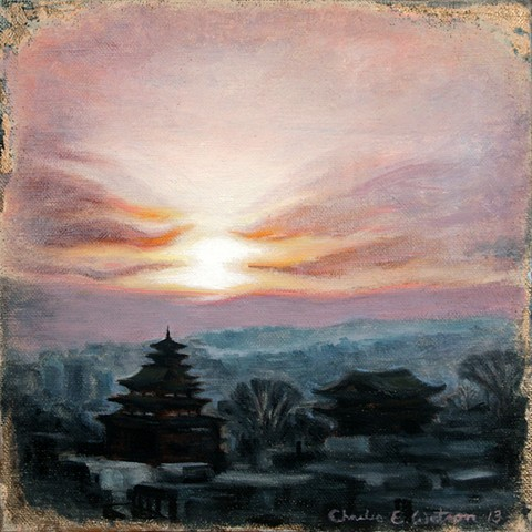 Painting of sunset, temples and city of Seoul, Korea in late December.