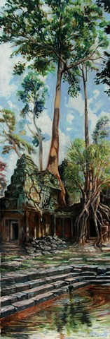 Painting of trees, temples, ruins, child from Angkor Wat near Siem Reap, Cambodia.