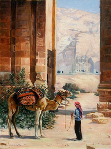 Painting of Bedouin, camel, temple ruins, architectural carvings from Petra, Jordan.