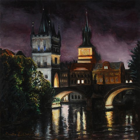 Prague painting of powder tower gate and part of Karol Bridge during foggy night.