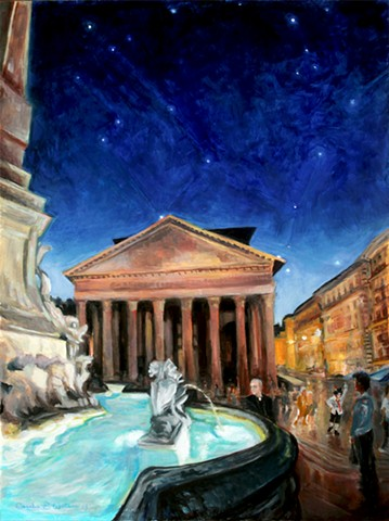 Painting of The Pantheon (Santa Maria Rotonda) showing part of Fontana del Pantheon. Rome, Pantheon, fountain at dusk.