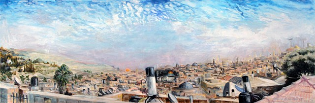 Painting of old town Jerusalem, The Holy City from the old city walls.