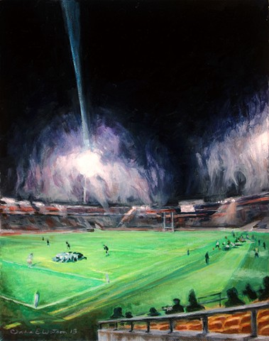 Painting of Quad Nations rugby match between New Zealand All Blacks and Argentina Pumas, Wellington.