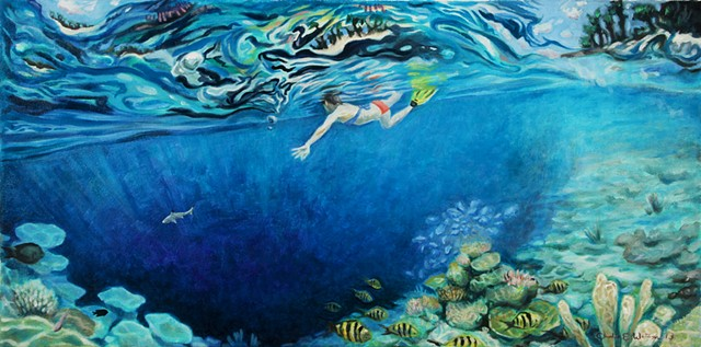 Painting of snorkeling the Maldives off Bandos Island, with black tip shark, coral, feeding frenzy, and atolls.