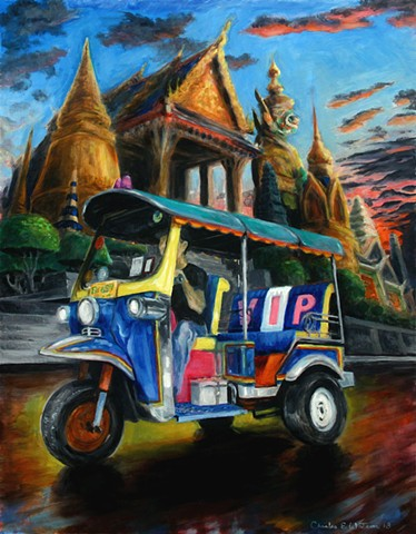 Bangkok painting of tuk tuk with temples.