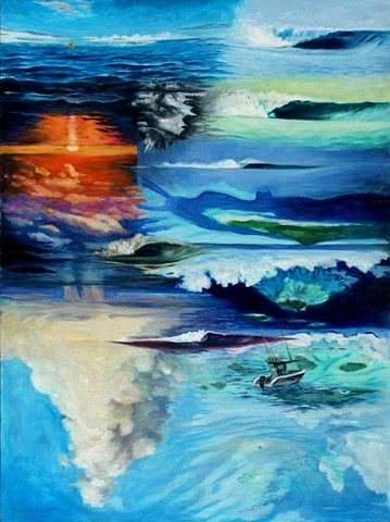 Painting of Cloudbreak, from Tavarua, Fiji- forms of the wave, popular surfing spot in South Pacific