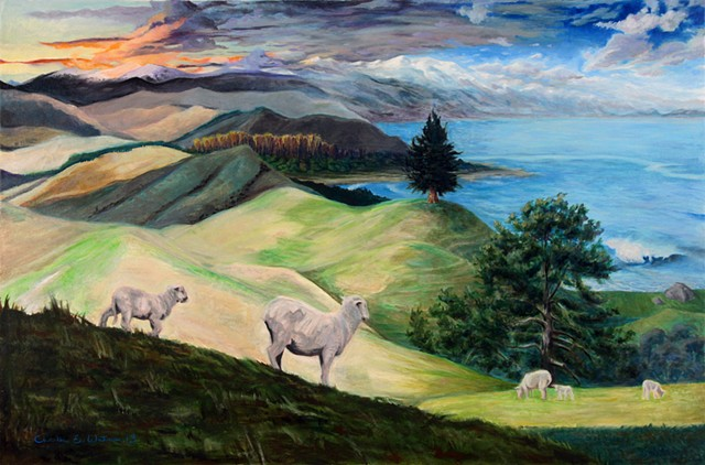 Landscape painting depicting South Island New Zealand views, scenery and colors.