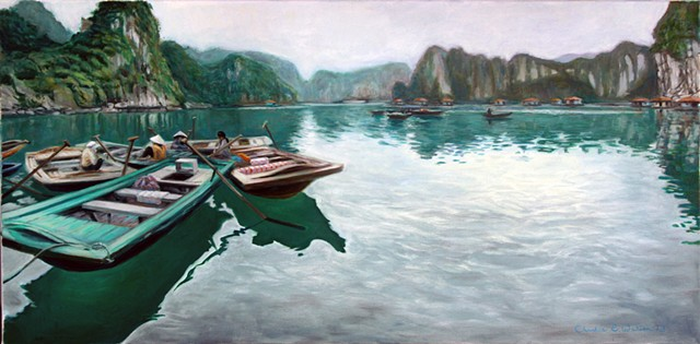 Painting of Vietnamese people from floating village at Halong Bay World Heritage Site.