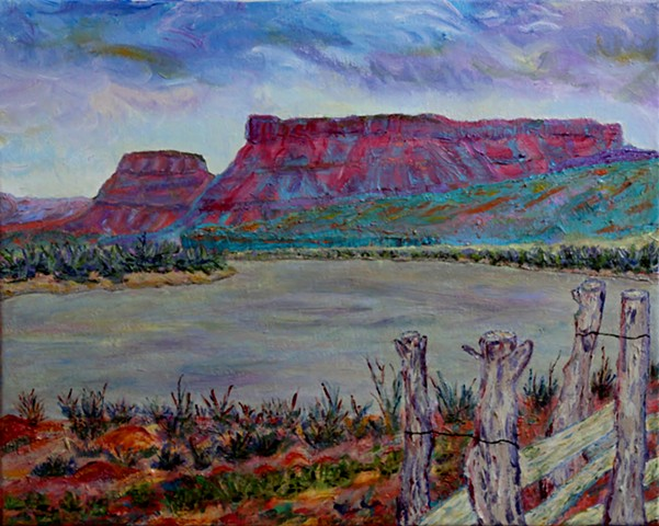 acrylic landscape painting by ann laase bailey of the rio chama river valley near ghost ranch in abiquiu, new mexico