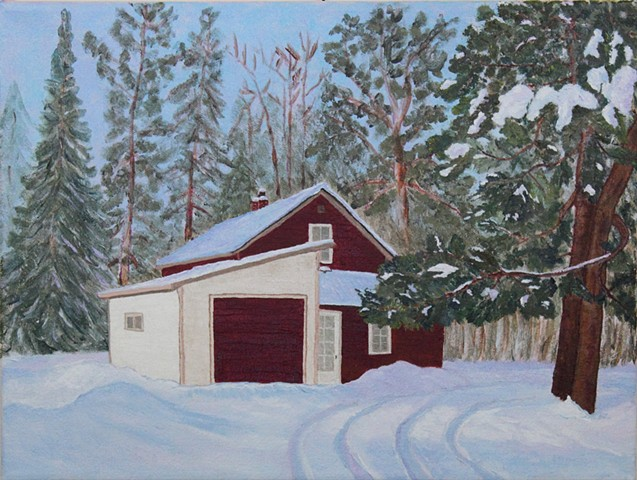 acrylic painting by ann laase bailey of the old farmhouse at bailey's farm in conover, wi in the winter snow