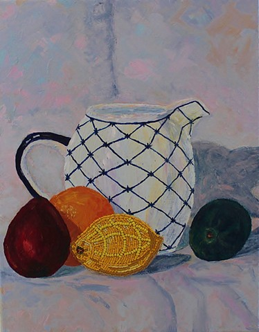 acrylic still-life painting by ann laase bailey with fruit including a lemon of seed beads stitched onto canvas