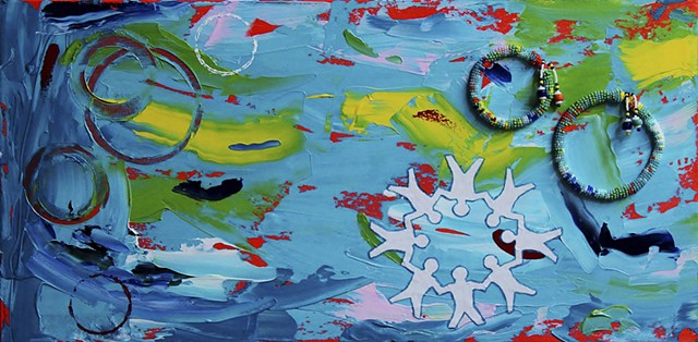 abstract acrylic mixed media painting by ann laase bailey primarily turquoise blue background with paper dolls and rings of seed beads stitched onto canvas