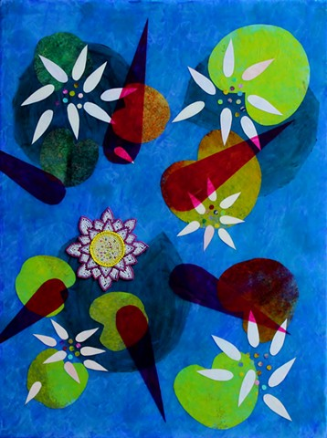 abstract acrylic mixed media painting of water lilies by ann laase bailey primarily cobalt and turquoise blue with with green and magenta highlights