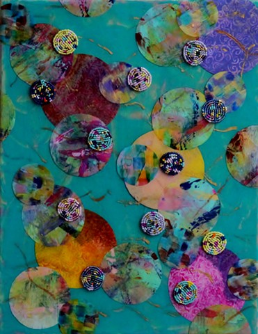 abstract acrylic mixed media painting by ann laase bailey primarily turquoise green and pastel colors