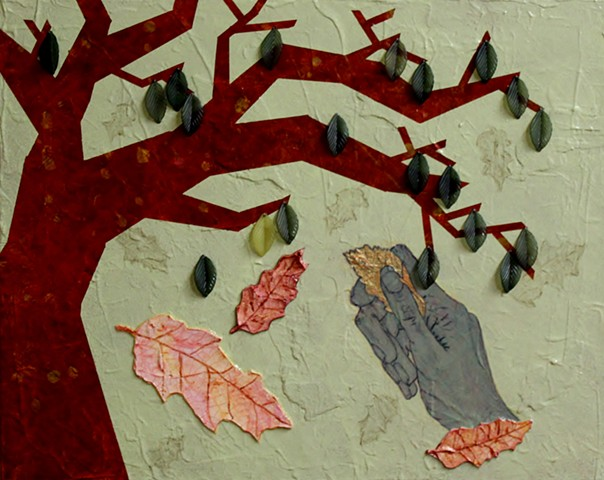 mixed media painting of leaves by ann laase bailey using acrylic, paper, cork, and beads stitched onto canvas