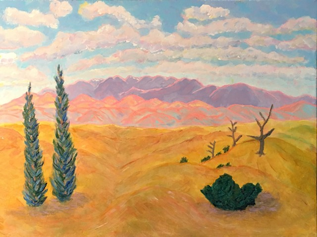 landscape, acrylic painting, landscape painting, southwestern, southwest, New Mexico, Galisteo, mountains