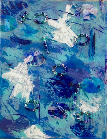 abstract acrylic mixed media painting by ann laase bailey primarily blue tones, with painted paper and stitched seed beads