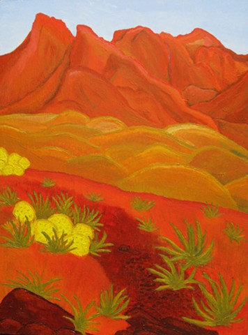 acrylic utah lanscape painting by ann laase bailey of red mountains and the desert