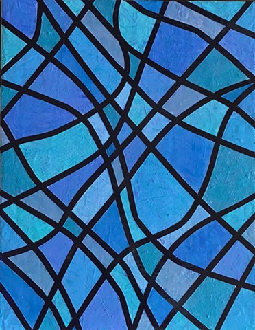 abstract painting by ann laase bailey primarily blue tones