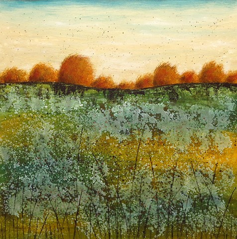 Landscape, trees, grasses, patina, contemporary