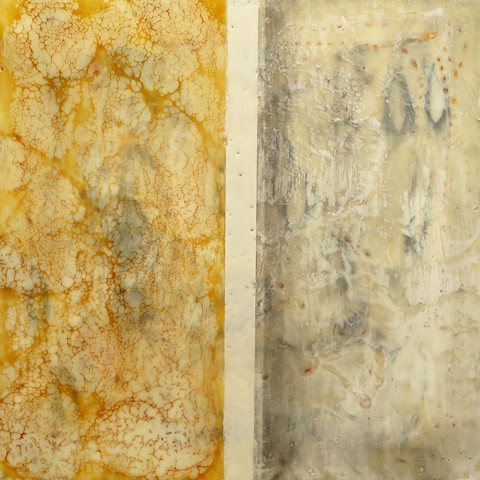 original fine art abstract encaustic painting on wood panel, shellac and graphite
