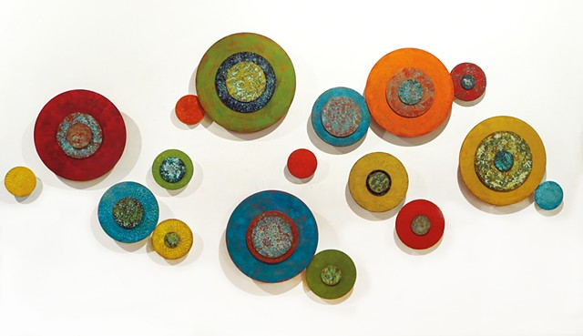 Abstract, circles, modern, contemporary, sculpture, dimensional, colorful wall sculpture art