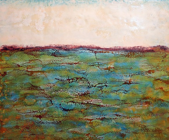Blues, greens and golds highlight this abstracted encaustic landscape for sale