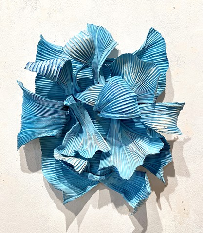 Contemporary wall sculpture blue encaustic on aluminum art for sale