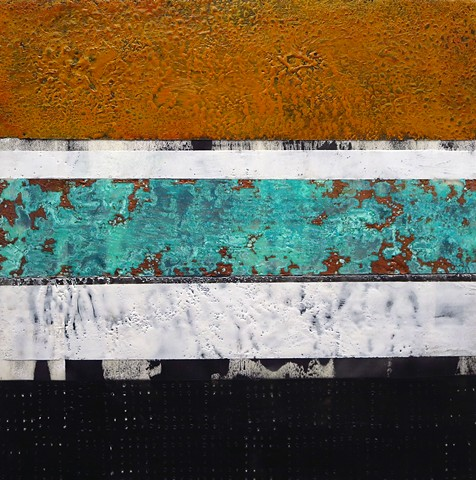 Encaustic art, abstract art, patina, copper painting on wood panel