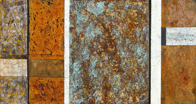 Fine art encaustic abstract contemporary painting on wood rust surface