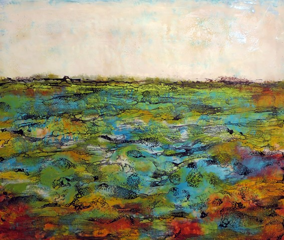 Brightly colored jewels float in this encaustic sea as an abstracted landscape