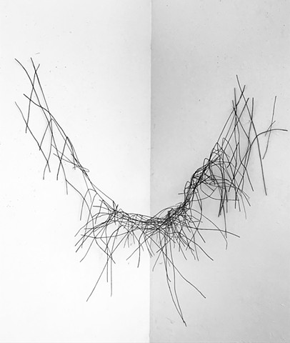 Black Encaustic beeswax dipped string wal sculpture drawing